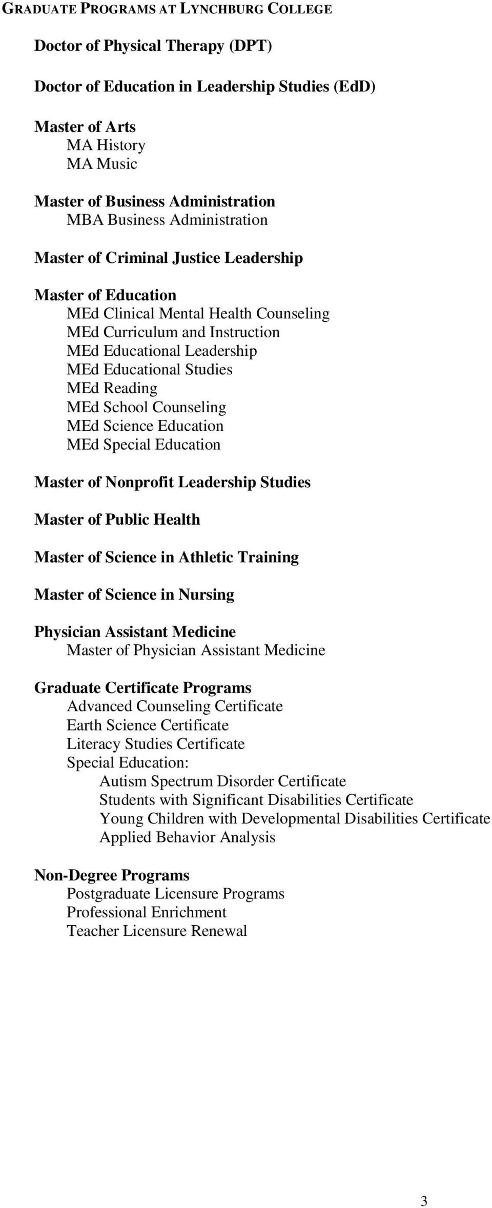 Studies MEd Reading MEd School Counseling MEd Science Education MEd Special Education Master of Nonprofit Leadership Studies Master of Public Health Master of Science in Athletic Training Master of
