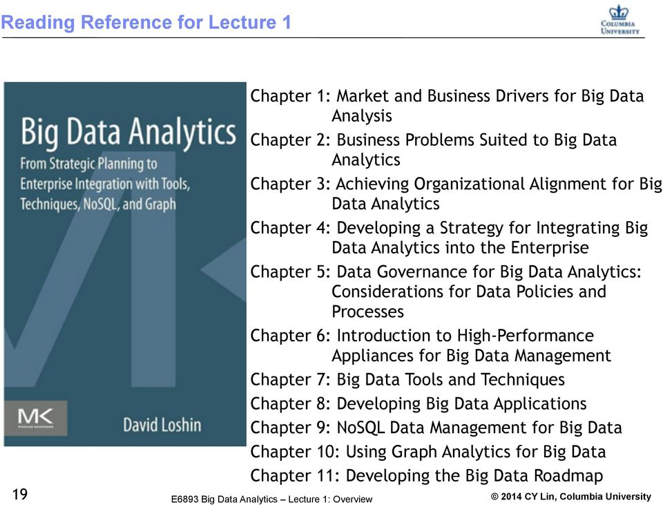Analytics: Considerations for Data Policies and Processes Chapter 6: Introduction to High-Performance Appliances for Big Data Management Chapter 7: Big Data Tools and Techniques
