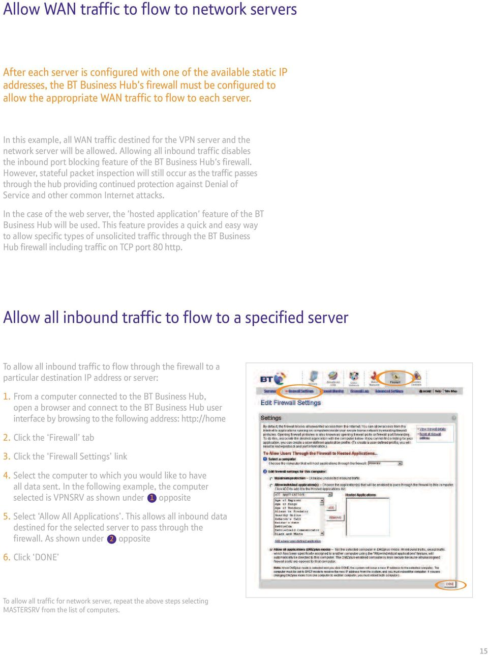 Allowing all inbound traffic disables the inbound port blocking feature of the BT Business Hub's firewall.