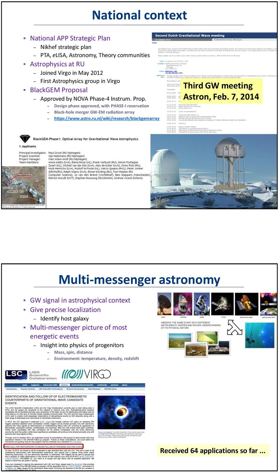 7, 2014 Multi-messenger astronomy GW signal in astrophysical context Give precise localization Identify host galaxy Multi-messenger picture of most energetic events Insight into