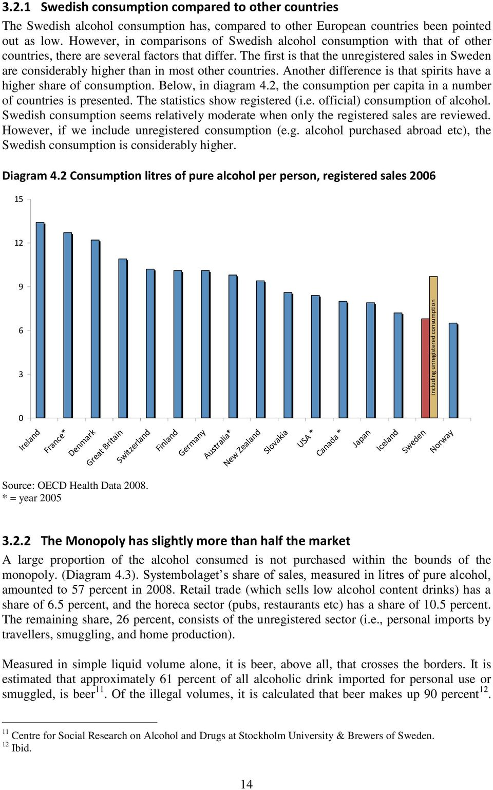 The first is that the unregistered sales in Sweden are considerably higher than in most other countries. Another difference is that spirits have a higher share of consumption. Below, in diagram 4.