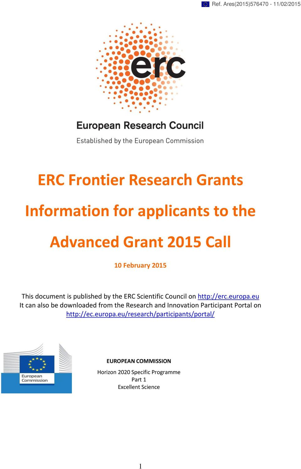 europa.eu It can also be downloaded from the Research and Innovation Participant Portal on http://ec.
