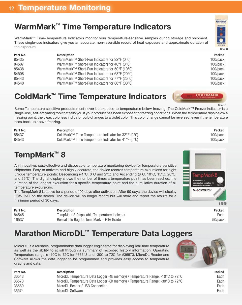 85438 ColdMark Time Temperature Indicators 85437 Some Temperature sensitive products must never be exposed to temperatures below freezing.