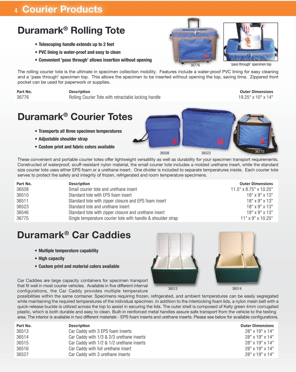 This allows the specimen to be inserted without opening the top, saving time. Zippered front pocket can be used for paperwork or supplies.