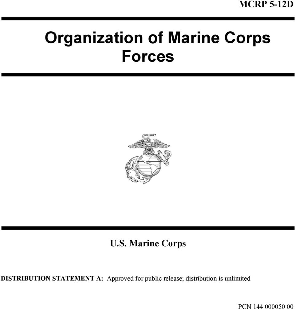 Marine Corps DISTRIBUTION STATEMENT A: