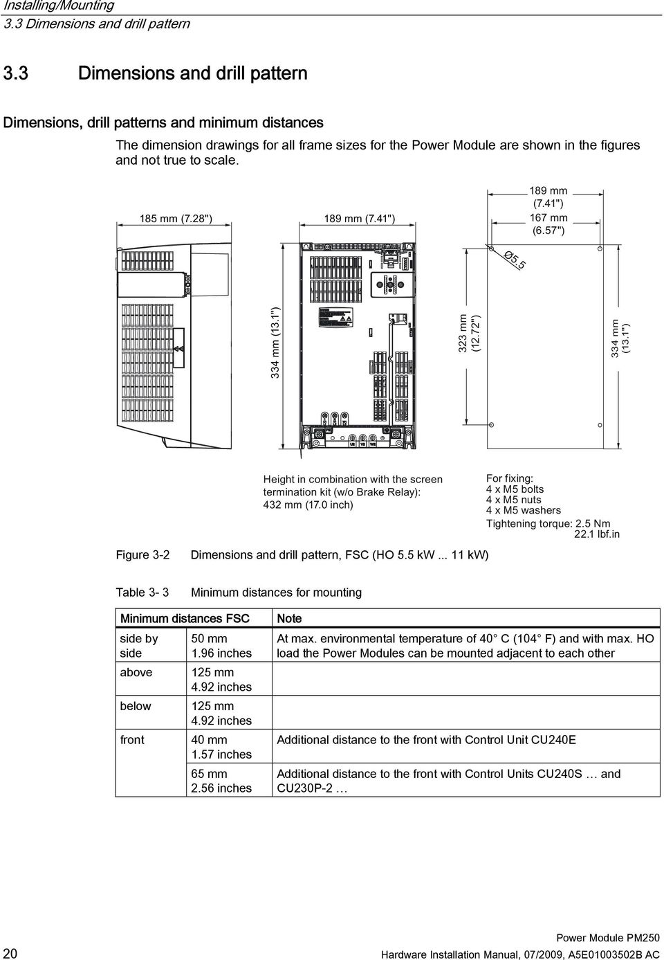 Figure 3-2 Dimensions and drill pattern, FSC (HO 5.5 kw... 11 kw) Table 3-3 Minimum distances for mounting Minimum distances FSC side by side above below front 50 mm 1.96 inches 125 mm 4.