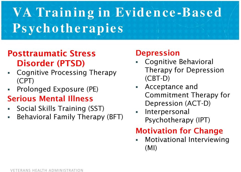 Therapy (BFT) Depression Cognitive Behavioral Therapy for Depression (CBT-D) Acceptance and Commitment