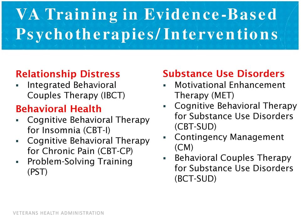 (CBT-CP) Problem-Solving Training (PST) Substance Use Disorders Motivational Enhancement Therapy (MET) Cognitive Behavioral