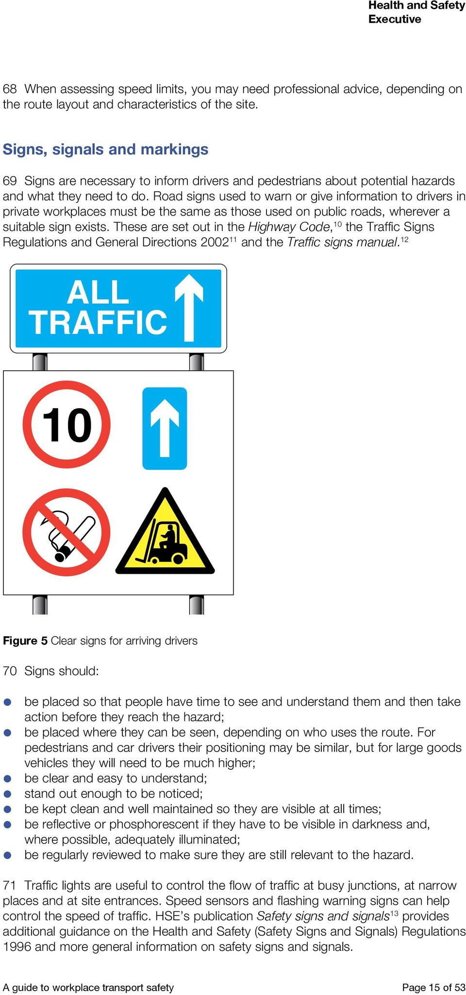 Road signs used to warn or give information to drivers in private workplaces must be the same as those used on public roads, wherever a suitable sign exists.