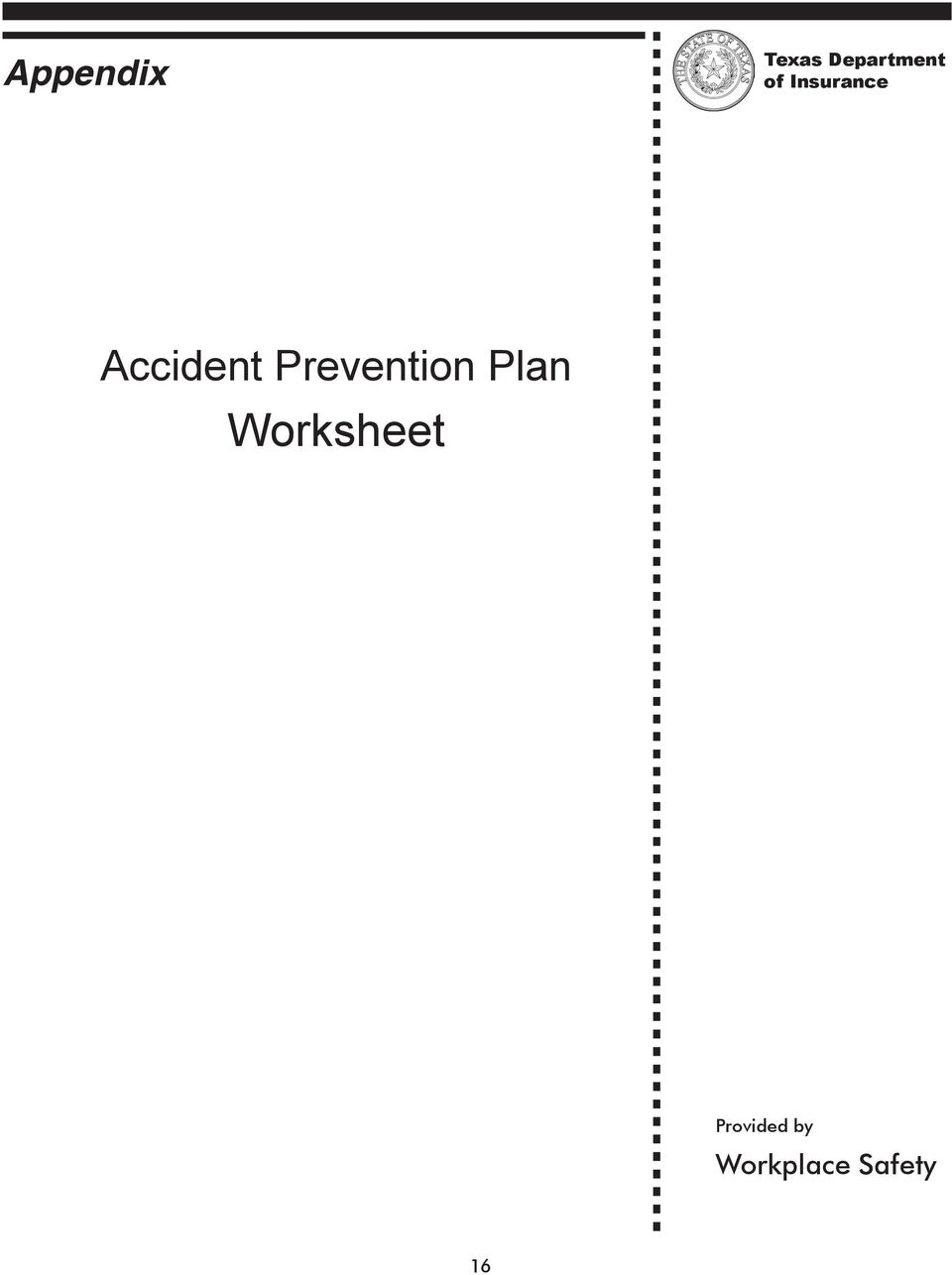 Prevention Plan Worksheet