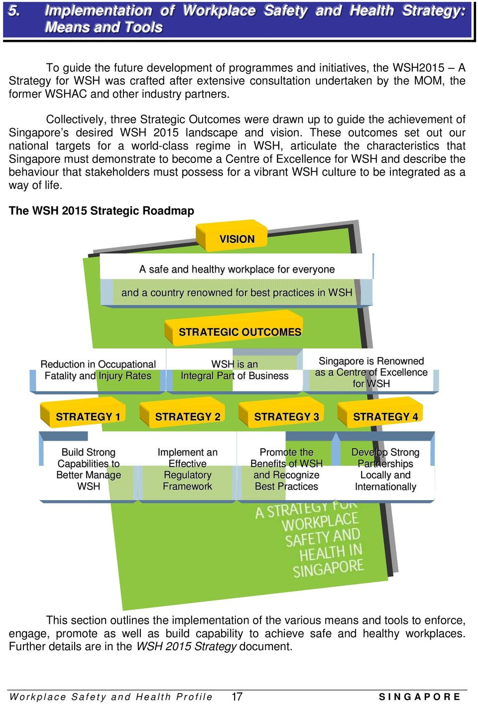 Collectively, three Strategic Outcomes were drawn up to guide the achievement of Singapore s desired WSH 2015 landscape and vision.