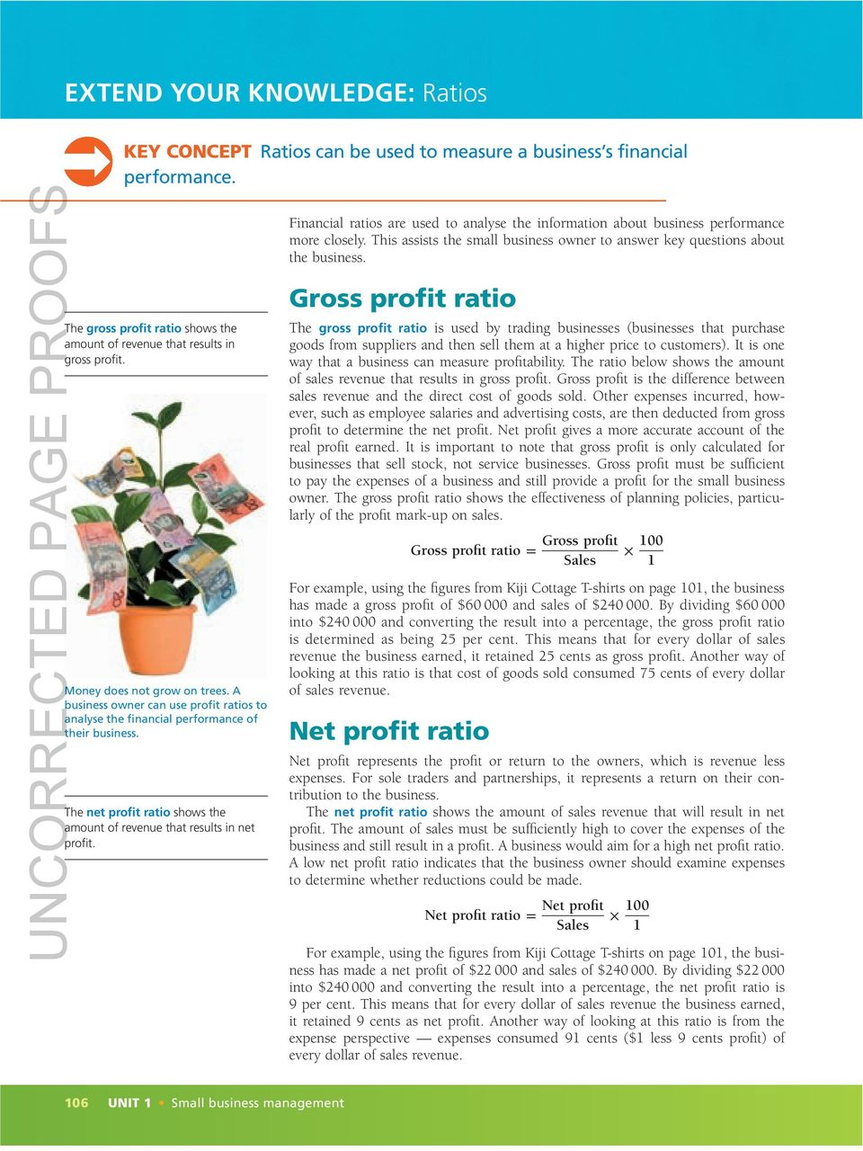 gross profit ratio The gross profit ratio shows the amount of revenue that results in gross profit. Gross profit ratio = Money does not grow on trees.