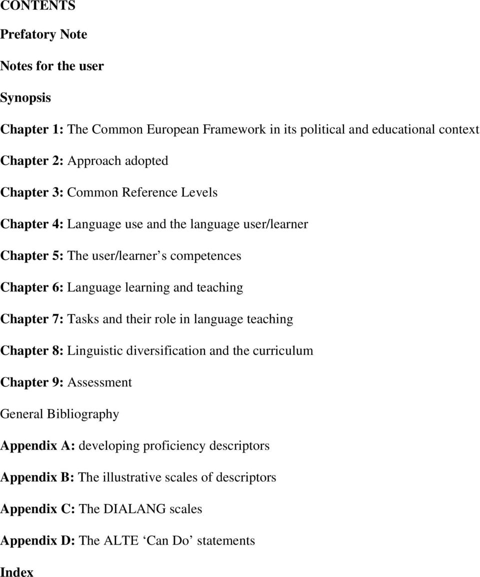 teaching Chapter 7: Tasks and their role in language teaching Chapter 8: Linguistic diversification and the curriculum Chapter 9: Assessment General Bibliography