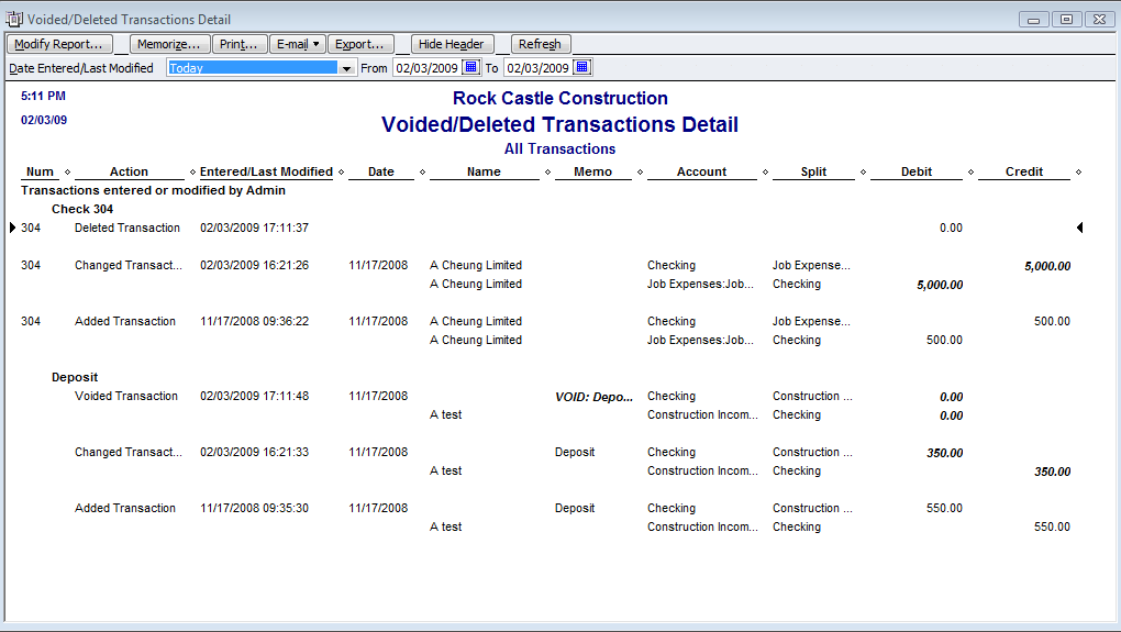 Voided/Deleted Transactions Report QuickBooks also gives you a Voided/Deleted Transactions report. You can use the Voided/Deleted Transactions Report to easily review changes and detect errors.