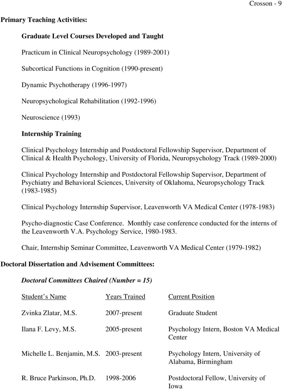 Clinical & Health Psychology, University of Florida, Neuropsychology Track (1989-2000) Clinical Psychology Internship and Postdoctoral Fellowship Supervisor, Department of Psychiatry and Behavioral