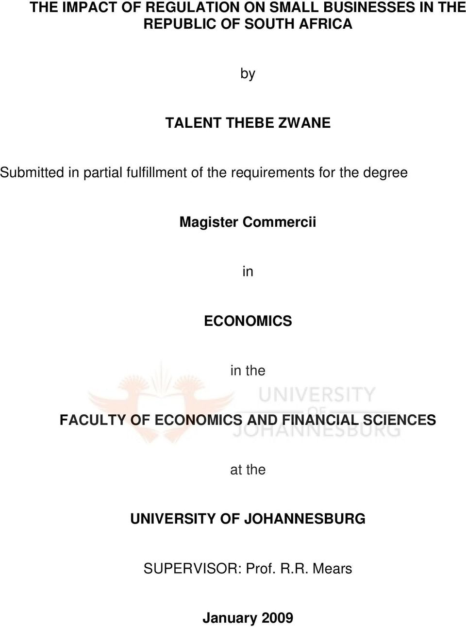 degree Magister Commercii in ECONOMICS in the FACULTY OF ECONOMICS AND FINANCIAL