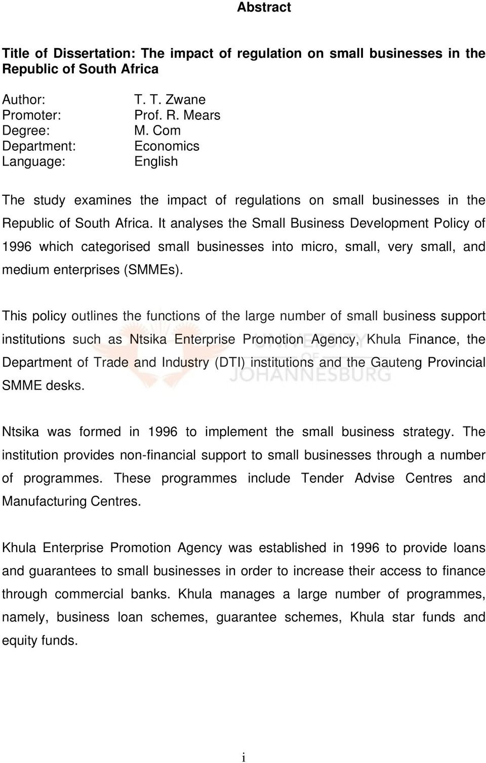 It analyses the Small Business Development Policy of 1996 which categorised small businesses into micro, small, very small, and medium enterprises (SMMEs).