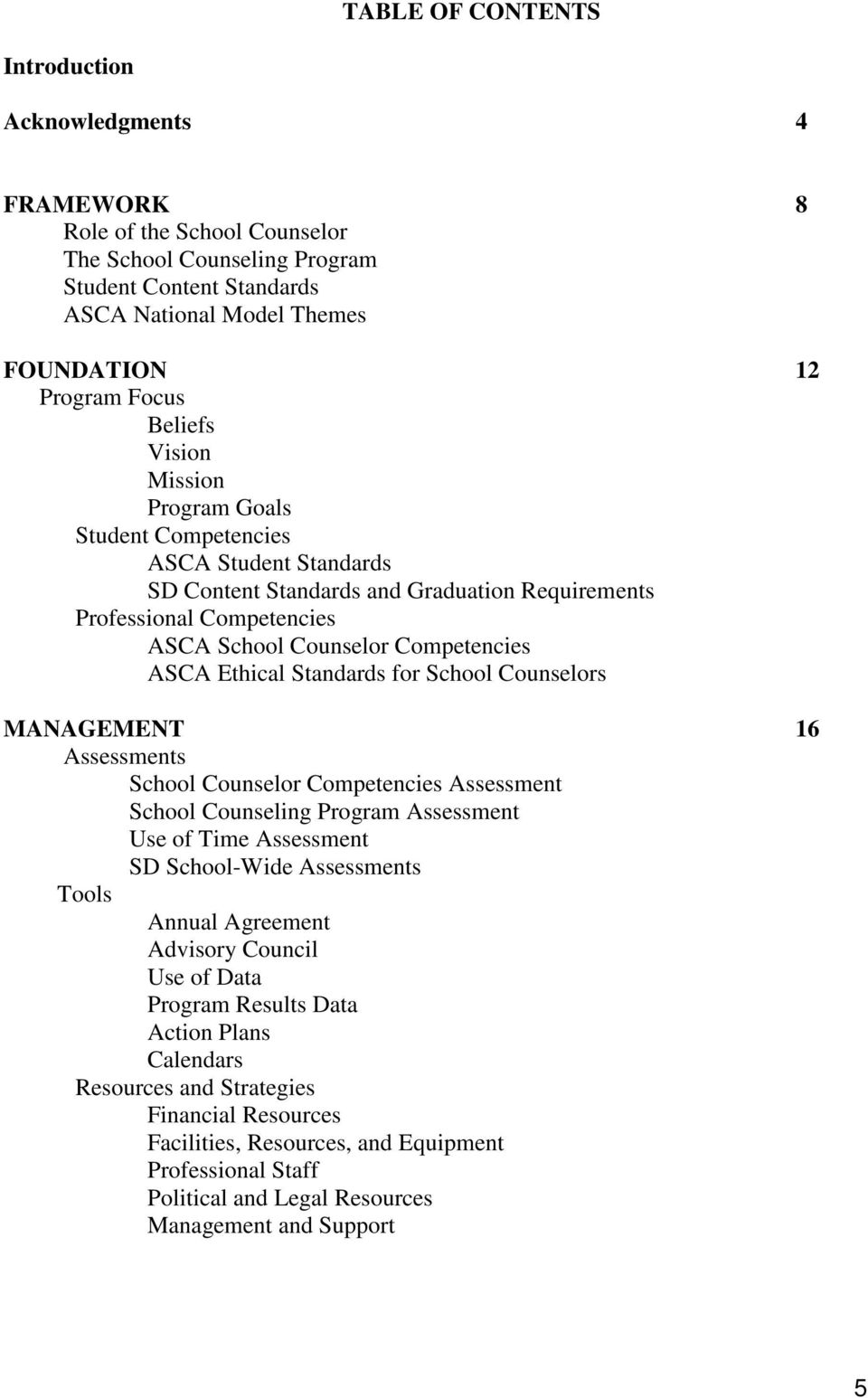 ASCA Ethical Standards for School Counselors MANAGEMENT 16 Assessments School Counselor Competencies Assessment School Counseling Program Assessment Use of Time Assessment SD School-Wide Assessments