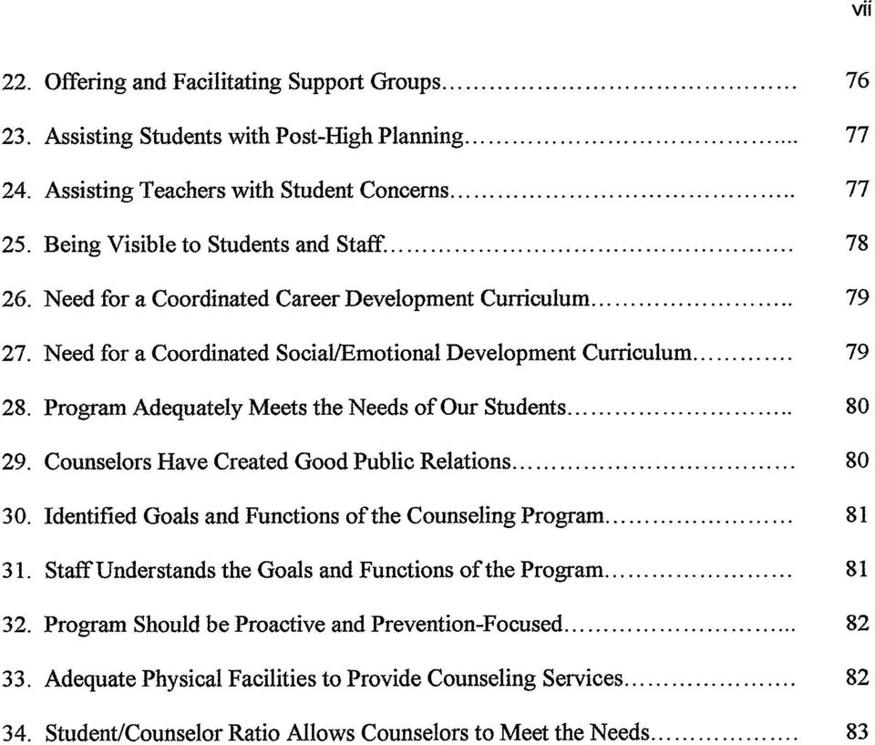 Program Adequately Meets the Needs of Our Students... 80 29. Counselors Have Created Good Public Relations... 80 30. Identified Goals and Functions of the Counseling Program... 81 31.