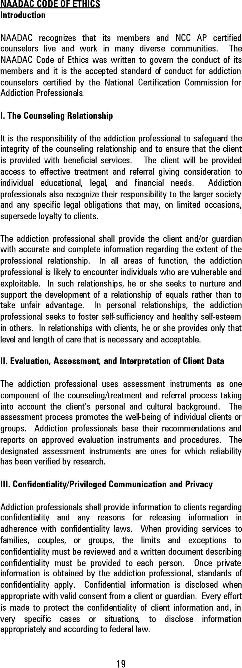 Addiction Professionals. I.