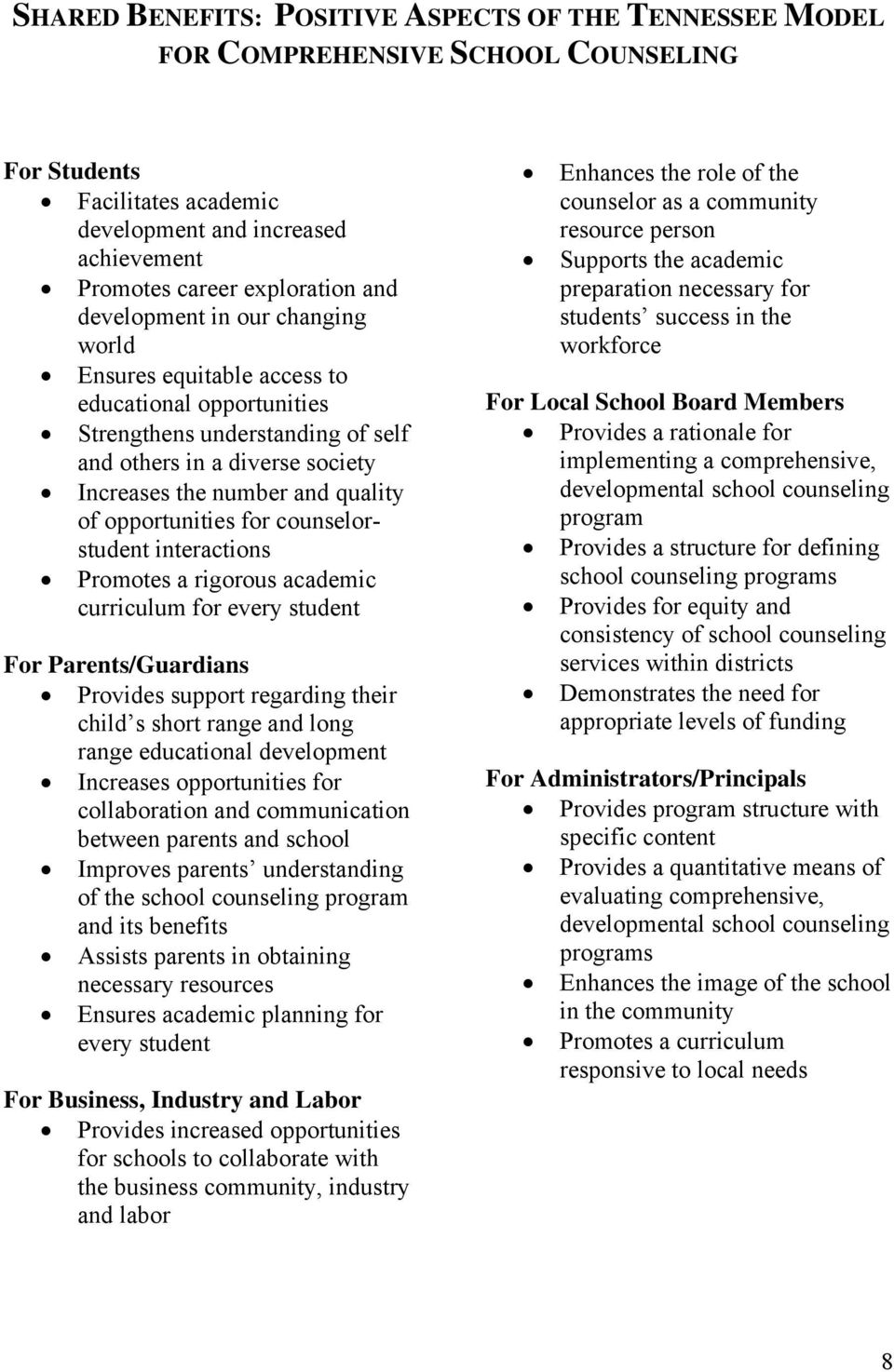 opportunities for counselorstudent interactions Promotes a rigorous academic curriculum for every student For Parents/Guardians Provides support regarding their child s short range and long range