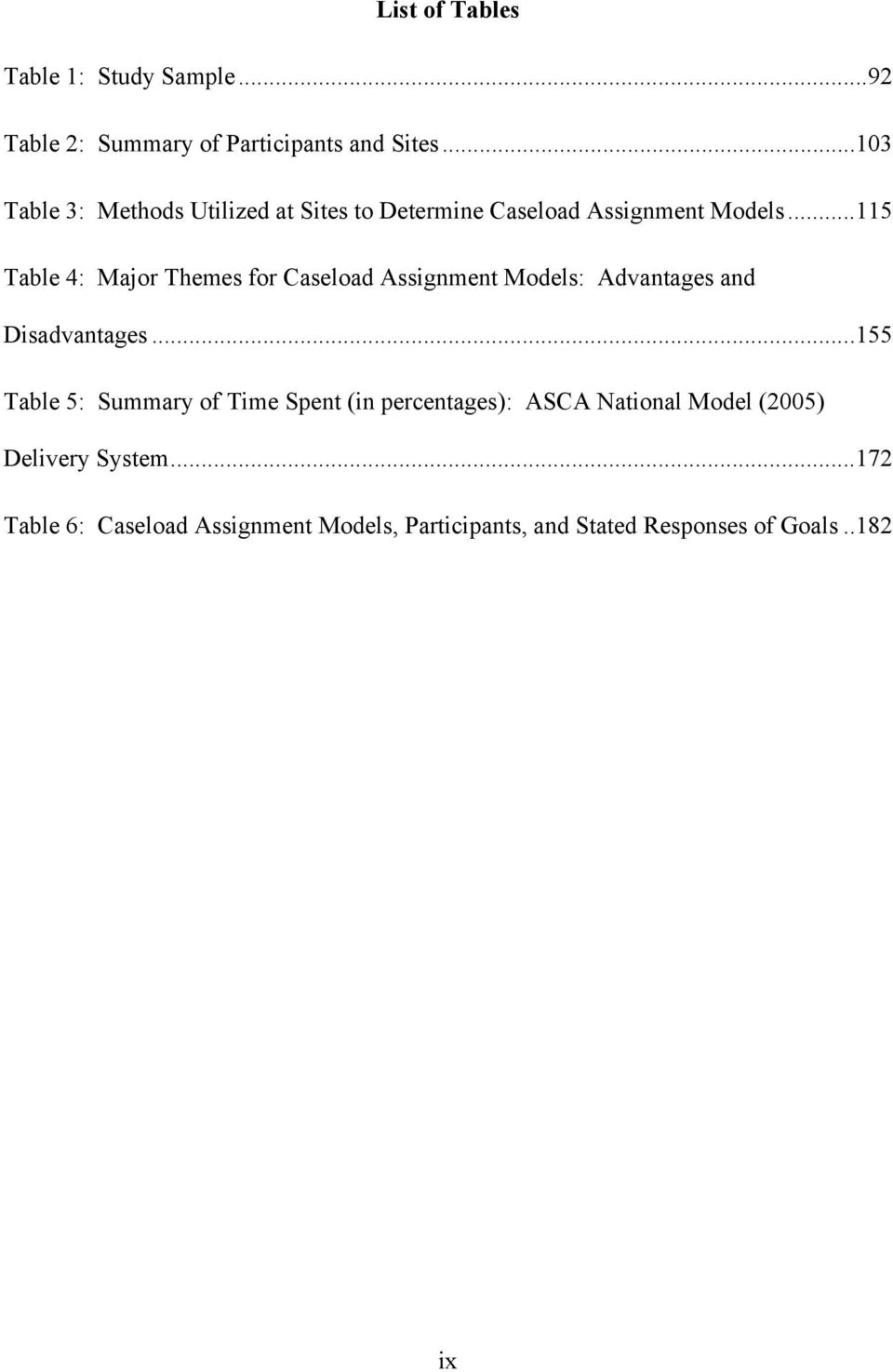 ..115 Table 4: Major Themes for Caseload Assignment Models: Advantages and Disadvantages.