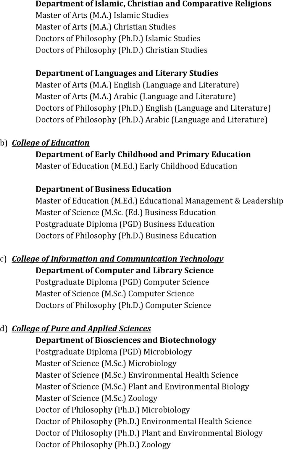 D.) English (Language and Literature) Doctors of Philosophy (Ph.D.) Arabic (Language and Literature) b) College of Education Department of Early Childhood and Primary Education Master of Education (M.