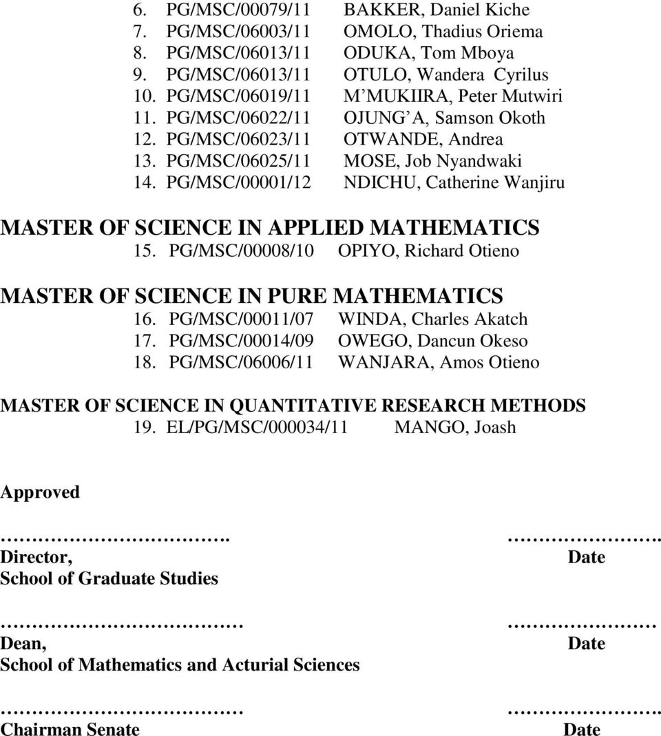 PG/MSC/00001/12 NDICHU, Catherine Wanjiru MASTER OF SCIENCE IN APPLIED MATHEMATICS 15. PG/MSC/00008/10 OPIYO, Richard Otieno MASTER OF SCIENCE IN PURE MATHEMATICS 16.