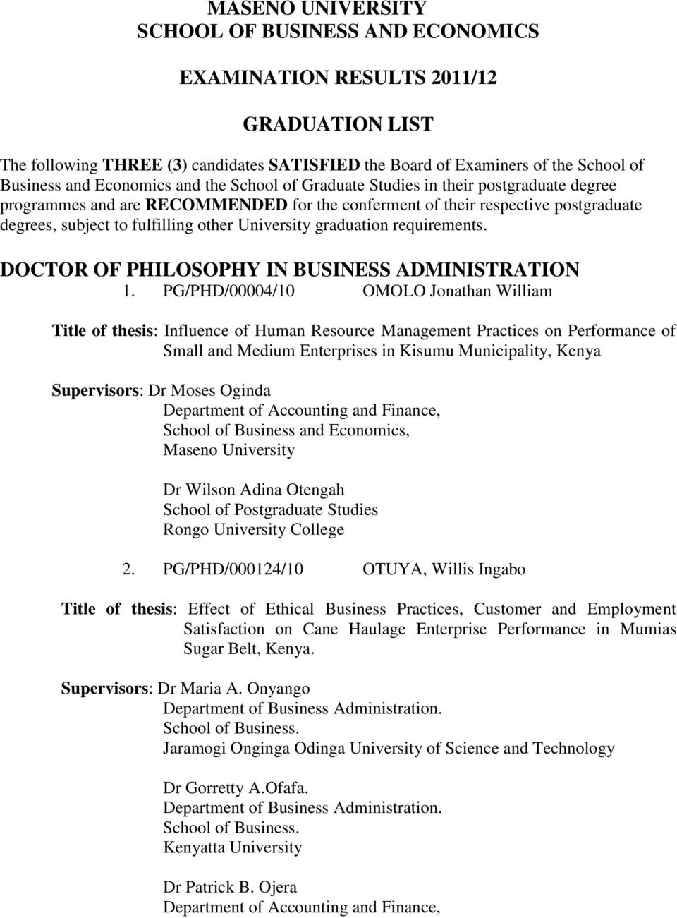 DOCTOR OF PHILOSOPHY IN BUSINESS ADMINISTRATION 1.