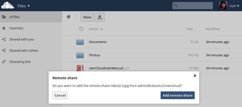 Un-check the Share Link checkbox to disable any federated cloud share created this way. 6.9.