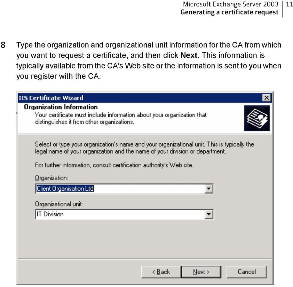 request a certificate, and then click Next.