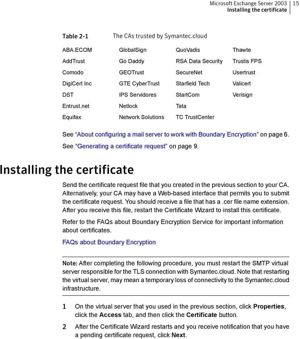 Verisign Entrust.net Netlock Tata Equifax Network Solutions TC TrustCenter See About configuring a mail server to work with Boundary Encryption on page 6.