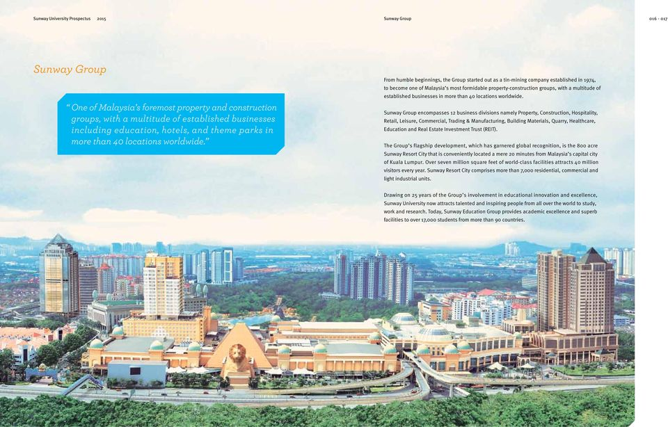 From humble beginnings, the Group started out as a tin-mining company established in 1974, to become one of Malaysia s most formidable property-construction groups, with a multitude of established