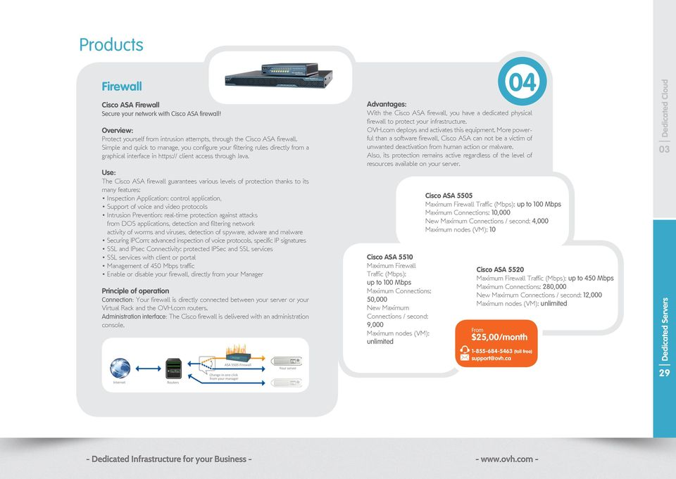 Use: The Cisco ASA firewall guarantees various levels of protection thanks to its many features: Inspection Application: control application, Support of voice and video protocols Intrusion
