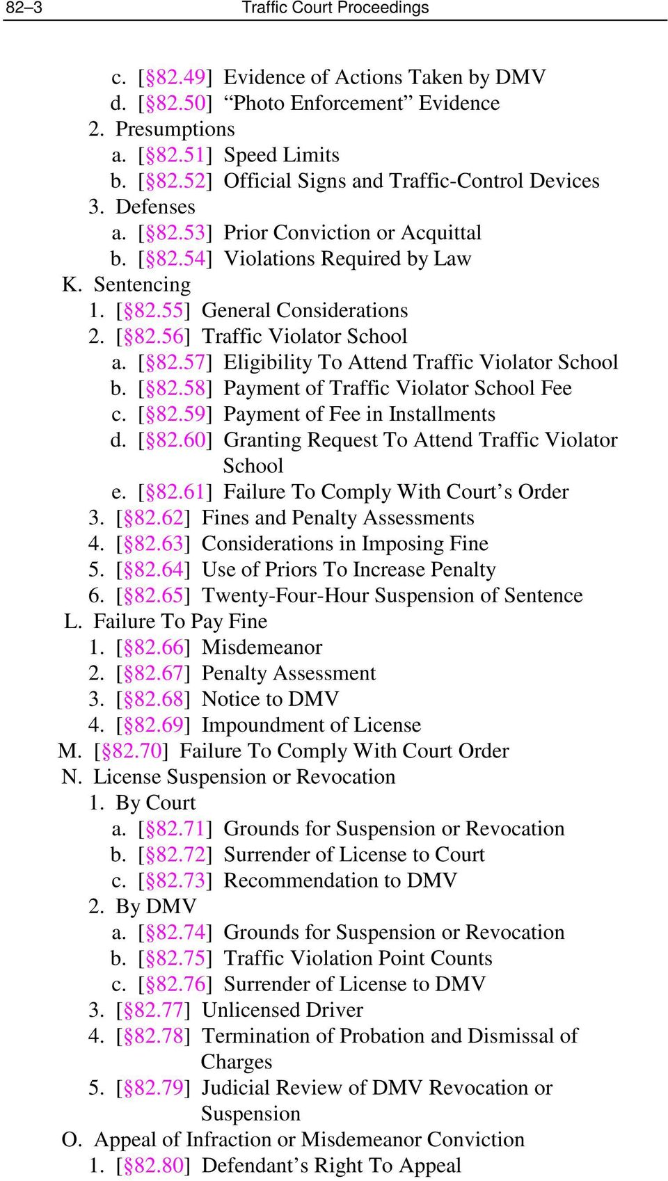 [ 82.58] Payment of Traffic Violator School Fee c. [ 82.59] Payment of Fee in Installments d. [ 82.60] Granting Request To Attend Traffic Violator School e. [ 82.61] Failure To Comply With Court s Order 3.