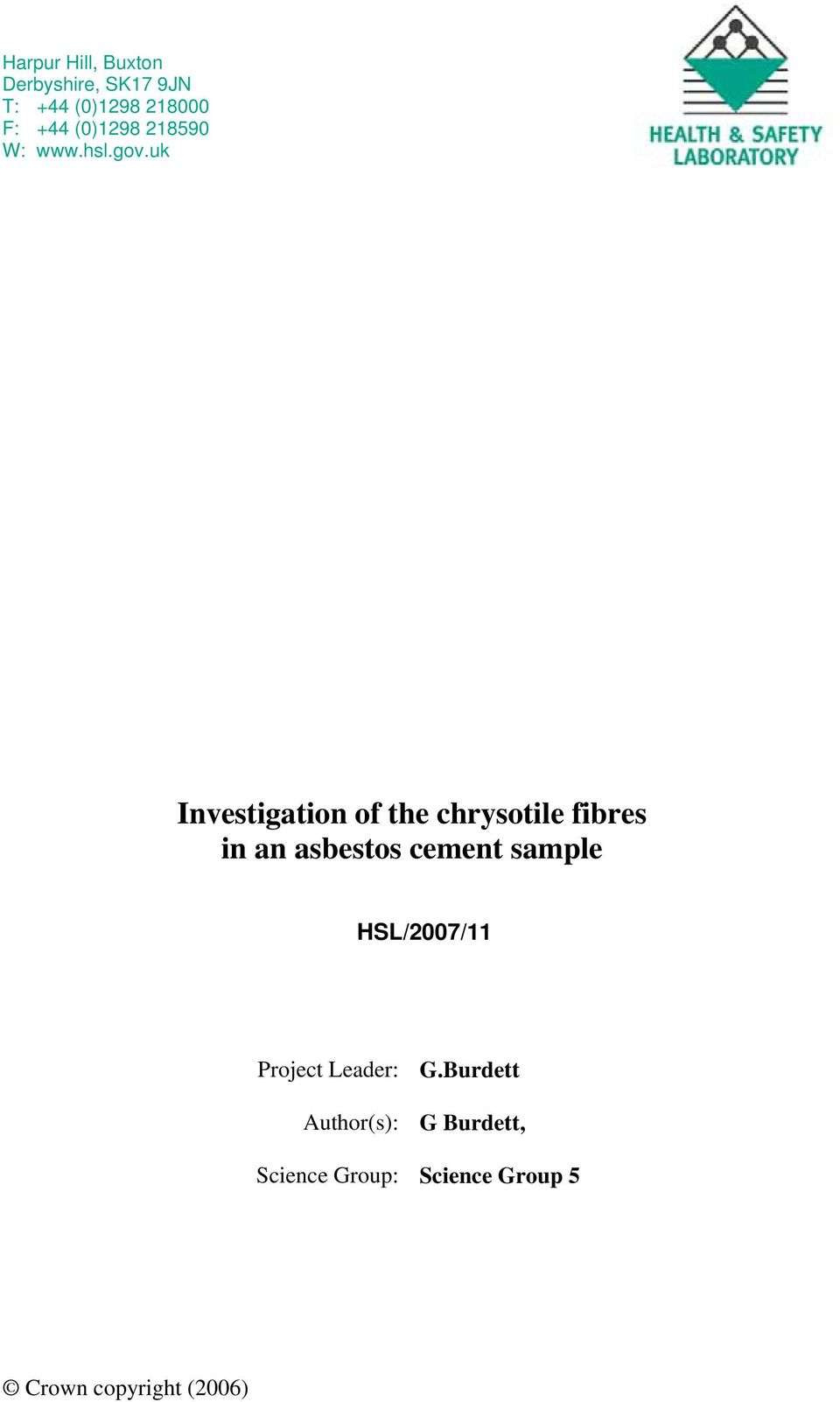 uk Investigation of the chrysotile fibres in an asbestos cement sample