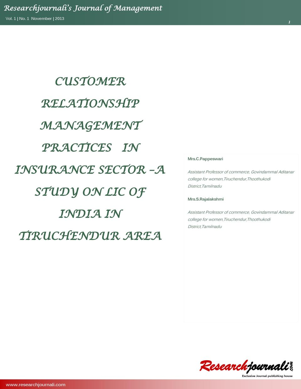 customer relationship management related to insurance sector
