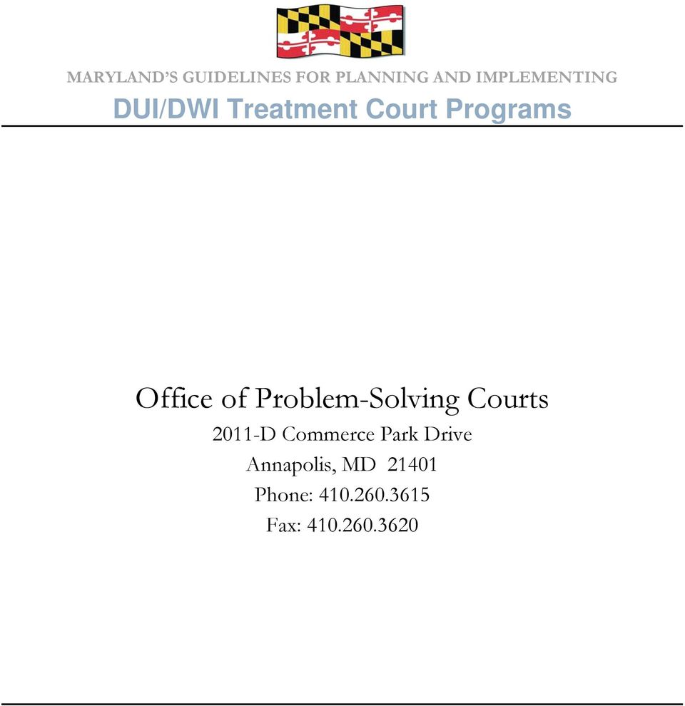 Office of Problem-Solving Courts 2011-D Commerce