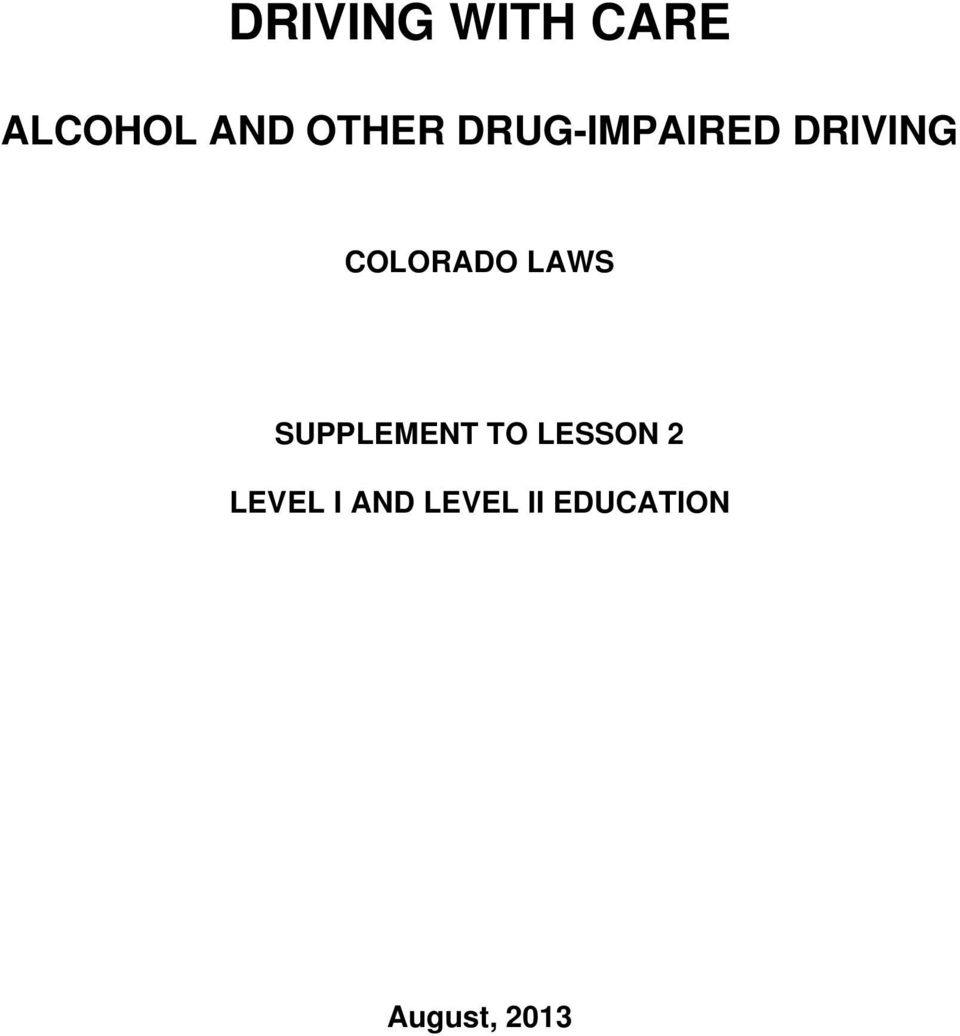 COLORADO LAWS SUPPLEMENT TO LESSON