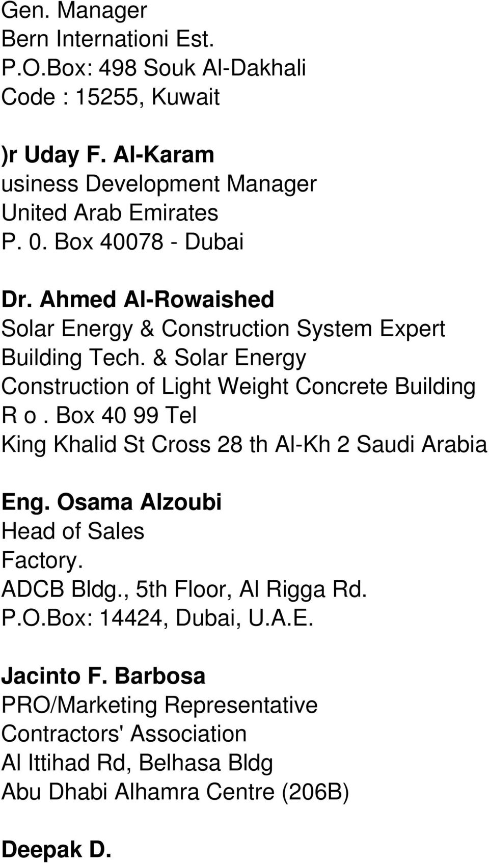 & Solar Energy Construction of Light Weight Concrete Building R o. Box 40 99 Tel King Khalid St Cross 28 th Al-Kh 2 Saudi Arabia Eng.