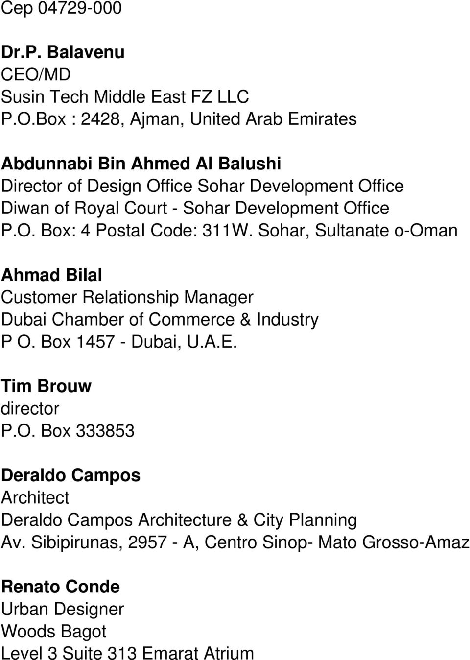 Box : 2428, Ajman, United Arab Emirates Abdunnabi Bin Ahmed Al Balushi Director of Design Office Sohar Development Office Diwan of Royal Court - Sohar