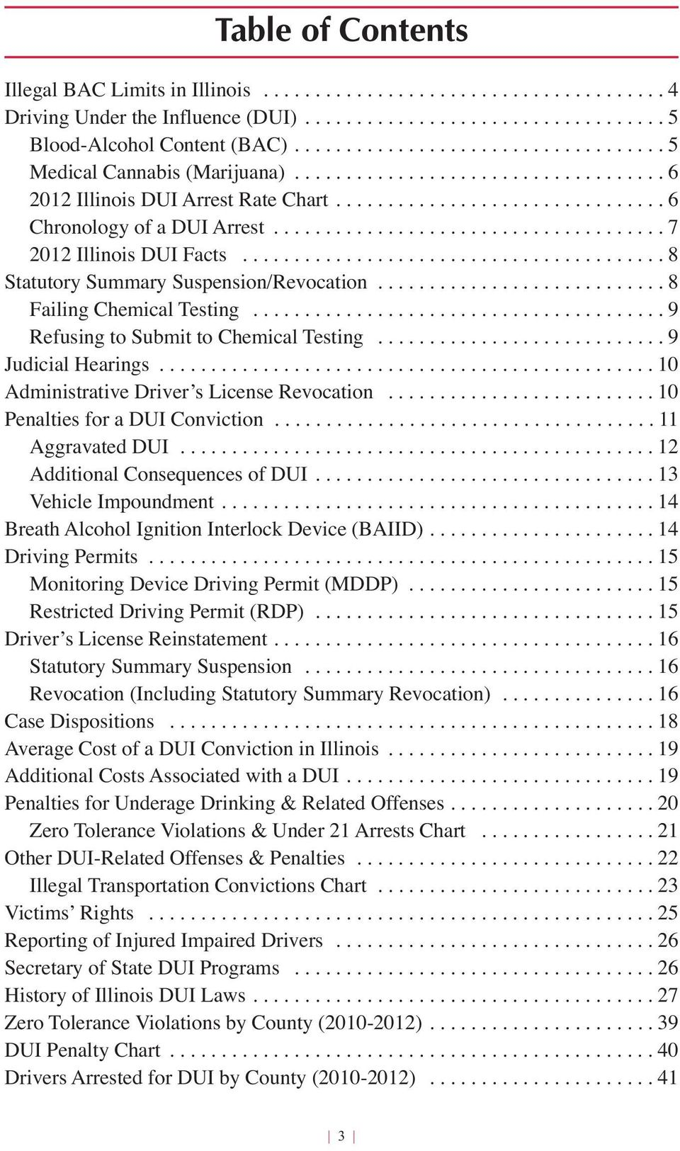 ..................................... 7 Illinois DUI Facts......................................... 8 Statutory Summary Suspension/Revocation............................ 8 Failing Chemical Testing.