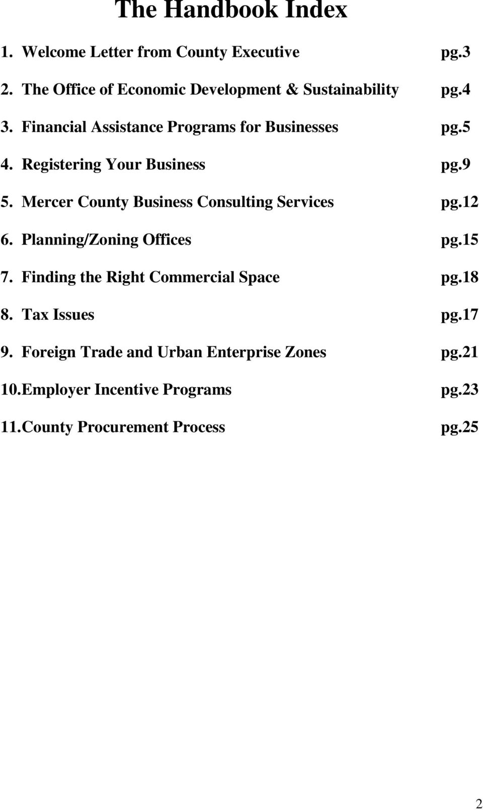 Mercer County Business Consulting Services pg.12 6. Planning/Zoning Offices pg.15 7.