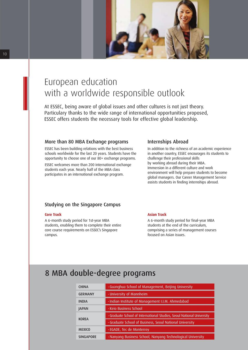 More than 80 MBA Exchange programs ESSEC has been building relations with the best business schools worldwide for the last 20 years.