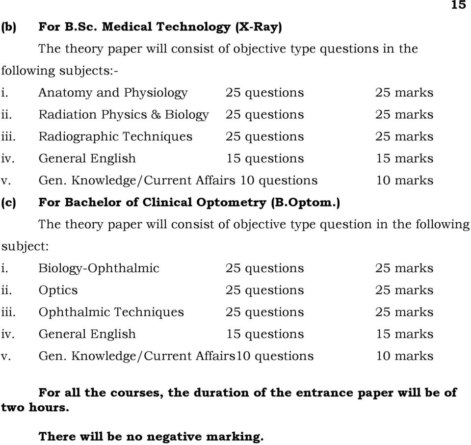Optom.) The theory paper will consist of objective type question in the following subject: i. Biology-Ophthalmic 25 questions 25 marks ii. Optics 25 questions 25 marks iii.
