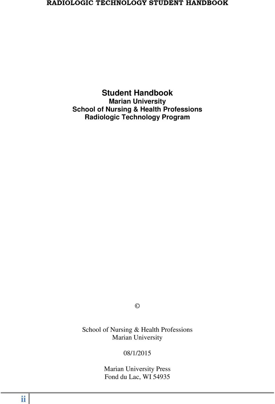 School of Nursing & Health Professions Marian