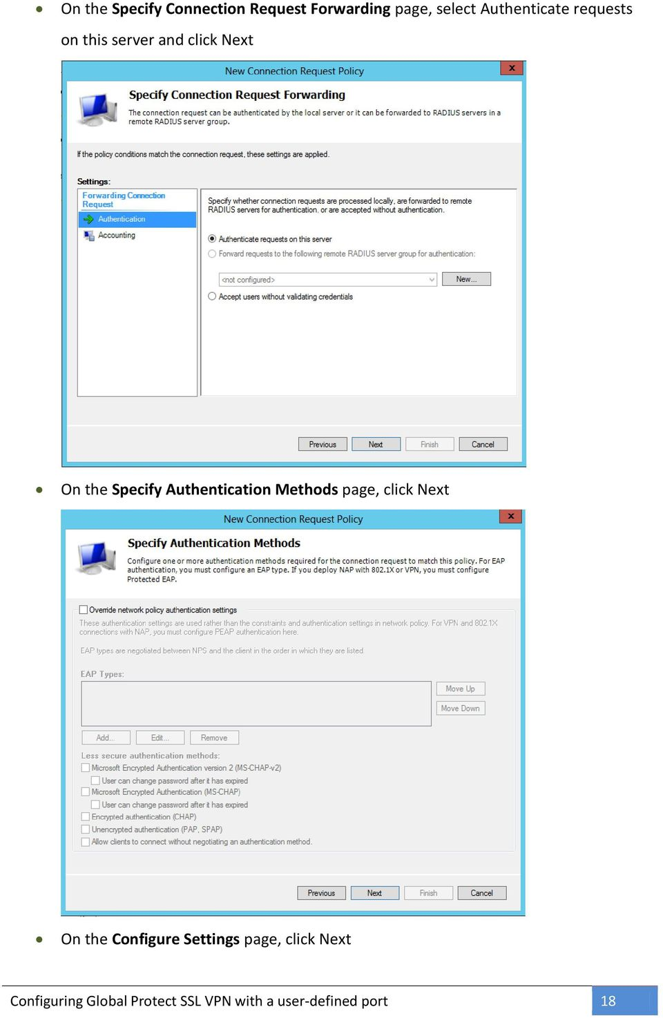 Authentication Methods page, click Next On the Configure Settings