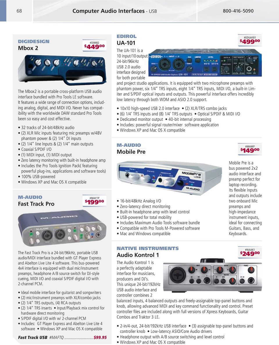 phantom power & (2) 1/4 DI inputs powerful plug-ins, applications and software tools) #MAFTP 199 00 EDIROL UA-101 The UA-101 is a 10 input/10 output 24-bit/96kHz USB 2.