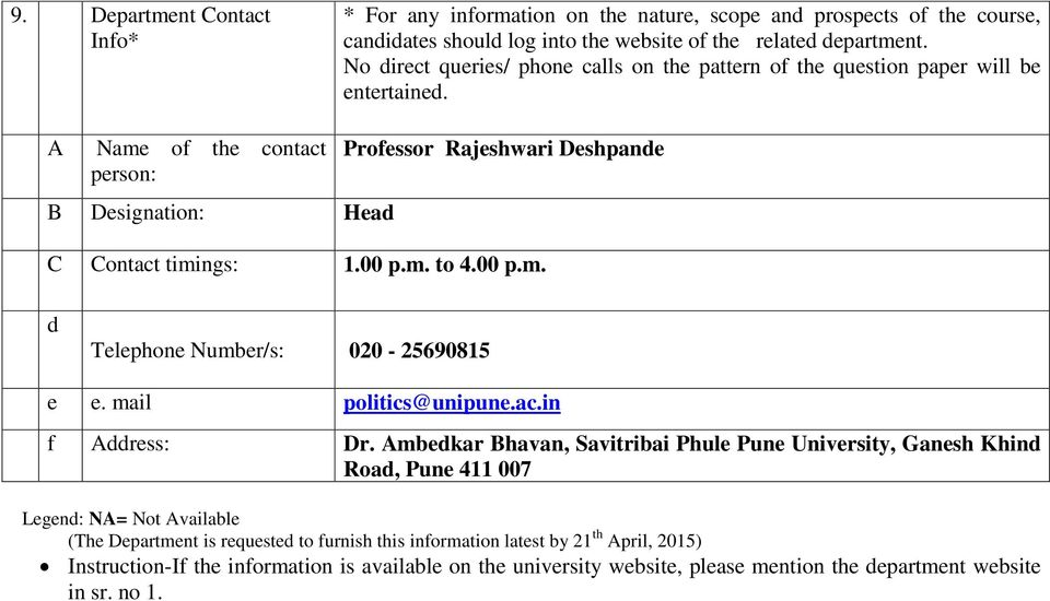00 p.m. to 4.00 p.m. d Telephone Number/s: 00-5690815 e e. mail politics@unipune.ac.in f Address: Dr.