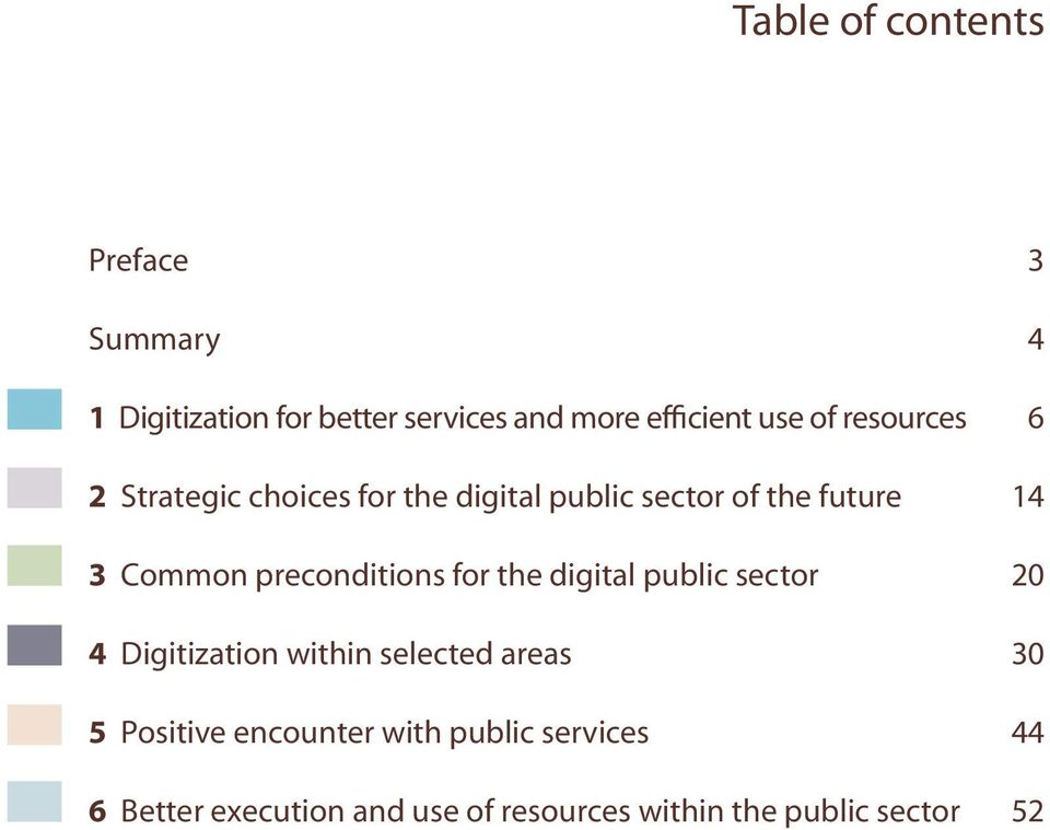 preconditions for the digital public sector 20 4 Digitization within selected areas 30 5